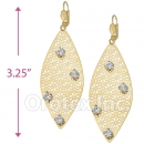 064008 Gold Layered CZ Long Earrings