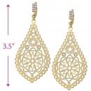 067004 Gold Layered CZ Long Earrings