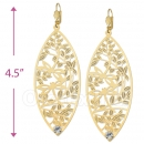 068003 Gold Layered CZ Long Earrings