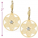 069004 Gold Layered CZ Long Earrings