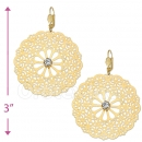 073003 Gold Layered CZ Long Earrings