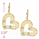 077007 Gold Layered CZ Long Earrings