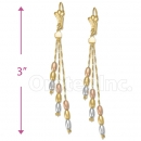 Oro Tex Gold Layered Tri-color Long Earrings