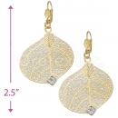 080004 Gold Layered CZ Long Earrings