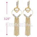 084001 Gold Layered CZ Long Earrings