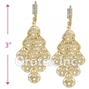 085004 Gold Layered CZ Long Earrings