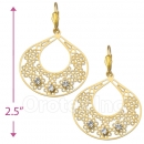 089001 Gold Layered CZ Long Earrings