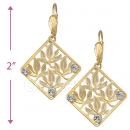 089009 Gold Layered CZ Long Earrings