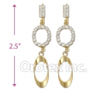 089010 Gold Layered CZ Long Earrings