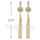 090005 Gold Layered CZ Long Earrings