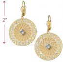 090006 Gold Layered CZ Long Earrings