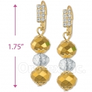 091002 Gold Layered Crystal Long Earrings