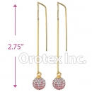092001 Gold Layered CZ Long Earrings