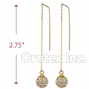 092004 Gold Layered CZ Long Earrings