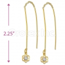 Orotex Gold Layered White CZ Long Earrings