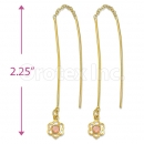 Orotex Gold Layered Pink CZ Long Earrings