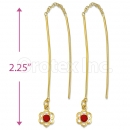 Orotex Gold Layered Red CZ Long Earrings