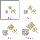 Orotex Gold Layered 4mm  Round CZ Stud Earrings