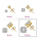 Orotex Gold Layered 10mm  Round CZ Stud Earrings