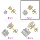 Orotex Gold Layered 6mm Square CZ Stud Earrings