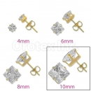 Orotex Gold Layered 10mm Square CZ Stud Earrings