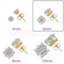 Orotex Gold Layered 6mm 4-Cut Square CZ Stud Earrings