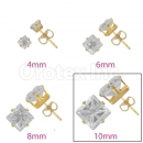 Orotex Gold Layered 10mm 4-Cut Square CZ Stud Earrings