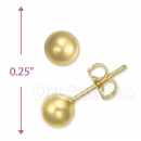 Orotex Gold Layered Round Knob Stud Earrings