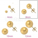 Orotex Gold Layered 8mm Gold Knob Stud Earrings