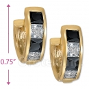 097030BK  Gold Layered  CZ Huggies Earring