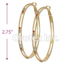 097042 Gold Layered Tri-Color Hoop Earrings