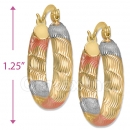 105001  Gold Layered Tri-color Hoop Earrings
