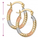 105003  Gold Layered Tri-color Hoop Earrings