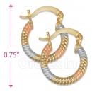 105004  Gold Layered Tri-color Hoop Earrings