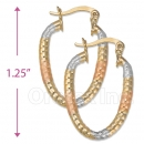 105006  Gold Layered Tri-color Hoop Earrings