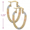 105012  Gold Layered Tri-color Hoop Earrings