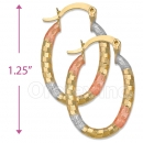 105013  Gold Layered Tri-color Hoop Earrings