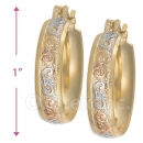 107029 Gold Layered Tri-color Hoop Earrings