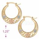 109011 Gold Layered Tri-color Hoop Earrings