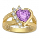 Orotex Gold Layered Purple & White CZ Women's Ring