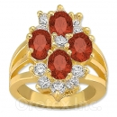 Orotex Gold Layered Red & White CZ Women's Ring
