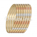 B038 Gold Plated Tri-Color Bangle