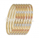 B043 Gold Plated Tri-Color Bangle