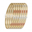 B048 Gold Plated Tri-Color Bangle