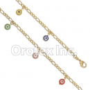 BR007 Gold Layered Multicolor Eye Bracelet