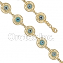 BR035 Gold Layered Blue Eye  Bracelet
