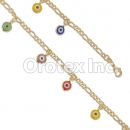 BR038  Gold Layered Multi Color Eye  Anklet