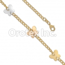 BR043  Gold Layered Tri-Color Anklet