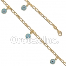 BR048  Gold Layered Blue Eye Anklet