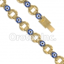 BR058  Gold Layered Blue Eye  Bracelet